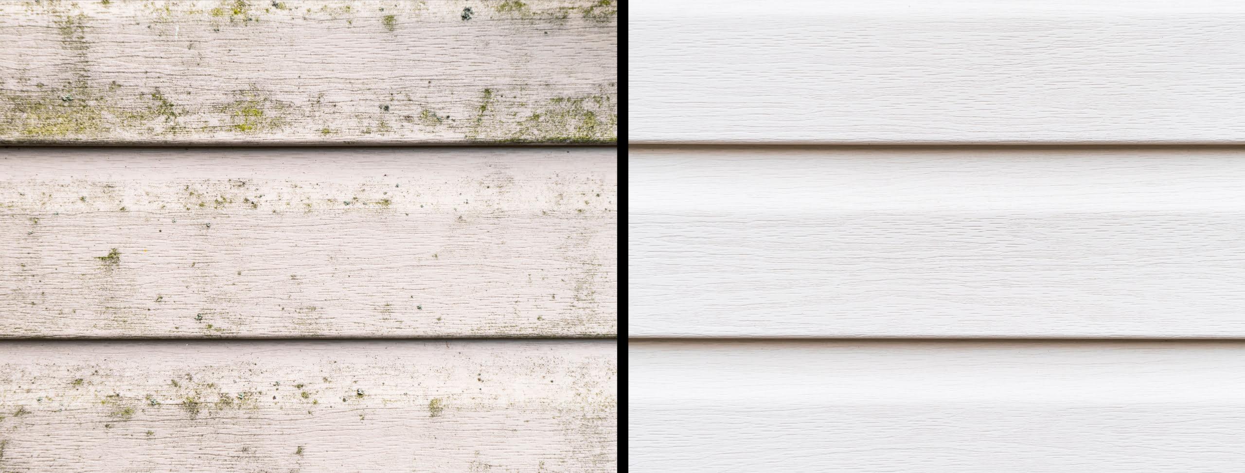 närbild av träfasad visas före och efter rengöring